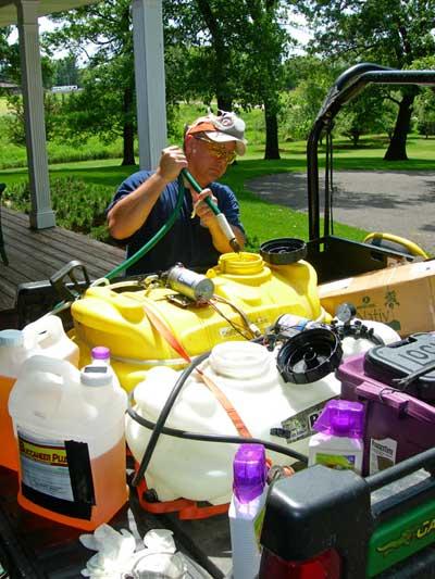 preparing herbicide for food plot