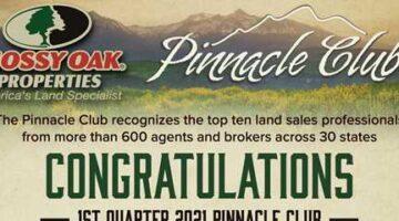 Mossy Oak Properties Recognizes 2021 First Quarter Pinnacle Club